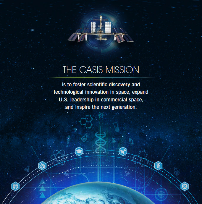 The CASIS mission is to foster scientific discovery and technological innovation in space, expand U.S. leadership in commercial space, and inspire the next generation.