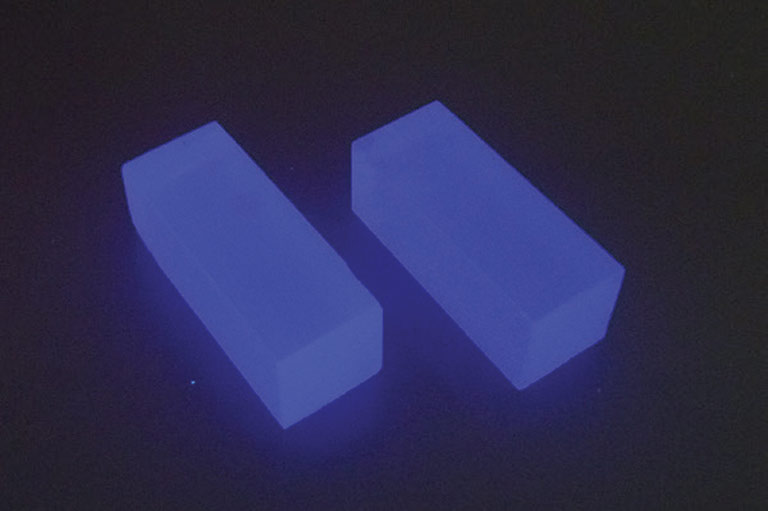 clyc scintillator crystals blue upward