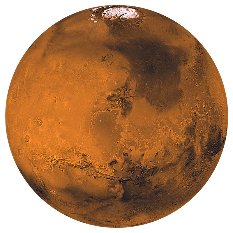 Mars global color view white square