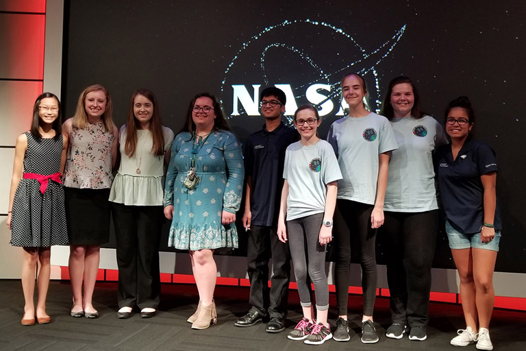 SpaceX 14 05 student stage presenters KSC