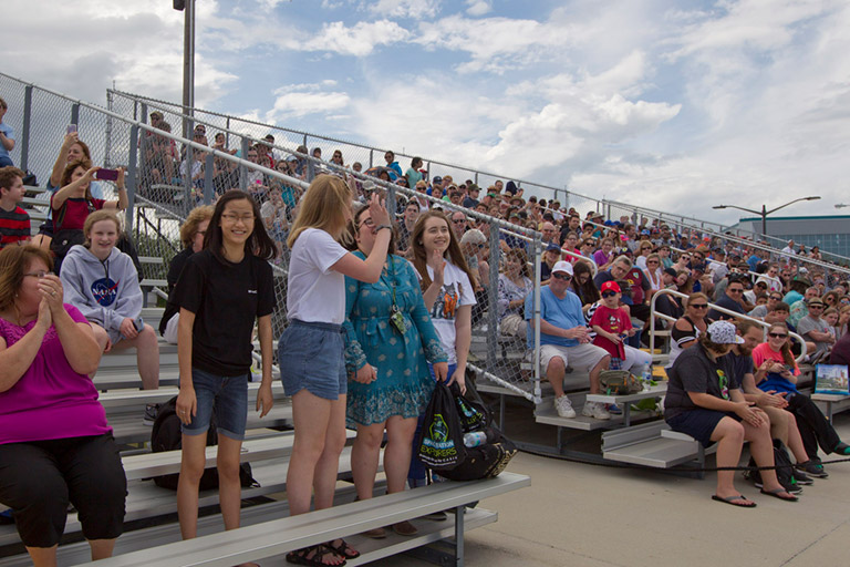 SpaceX 14 16 students bleachers KSC
