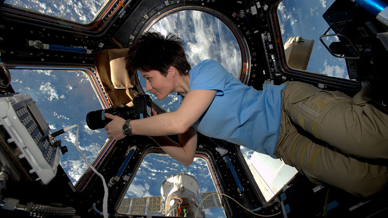 ISS 42 Samantha Cristoforetti in the Cupola