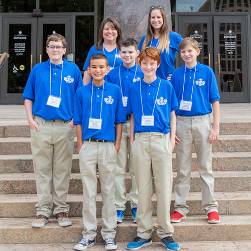 burleson students blue shirts museum