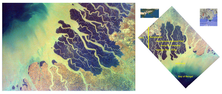earthkam ganges delta plain annotated 1
