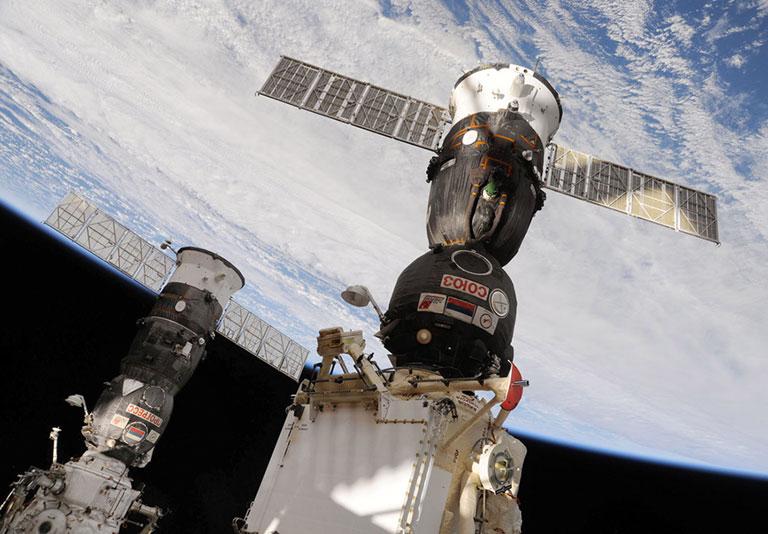 progress and soyuz docked ISS 2010