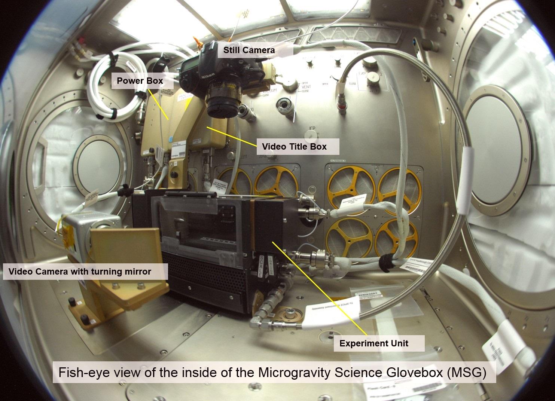 Hardware inside Microgravity Science Glovebox