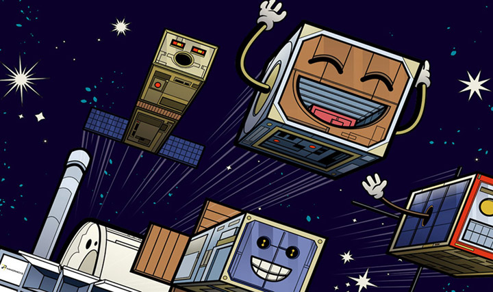 4 happy cartoon cubesats