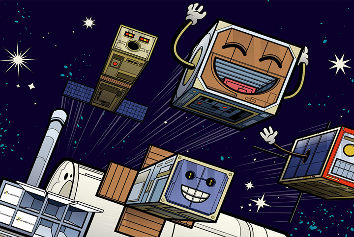 four happy cartoon cubesats 1