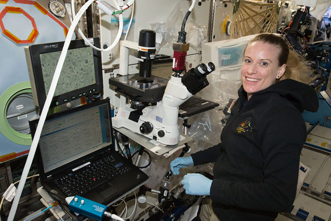 kate rubins examines heart cells onstation