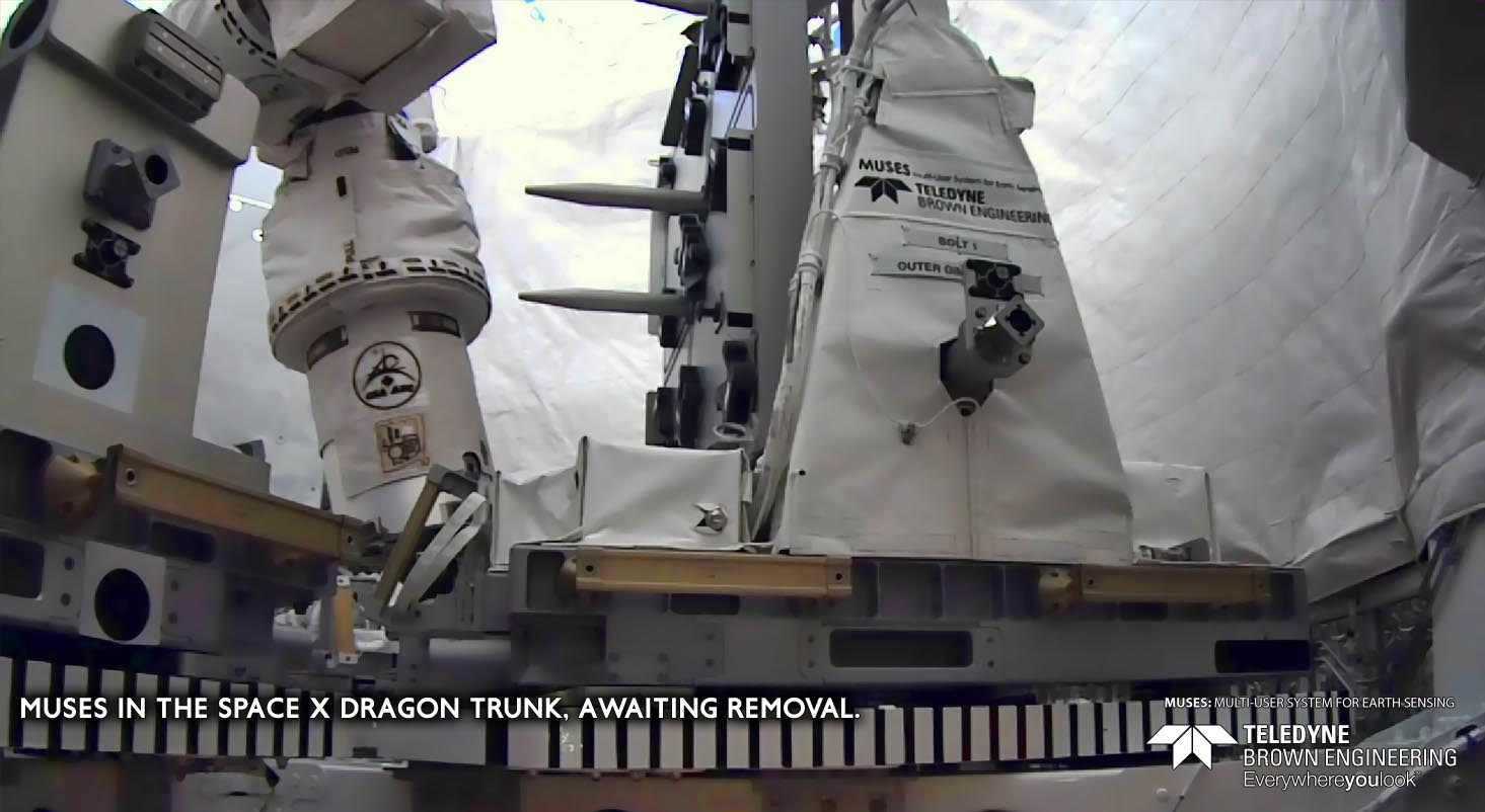 MUSES in the SpaceX Dragon trunk, awaiting removal.