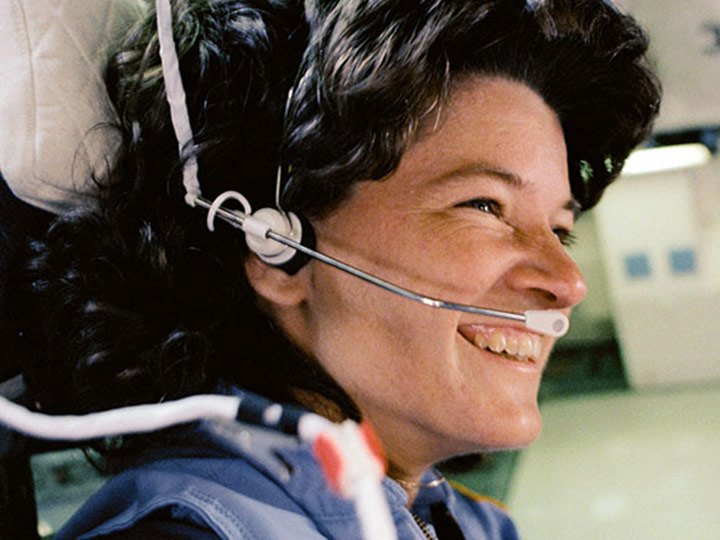 sally ride headset smile