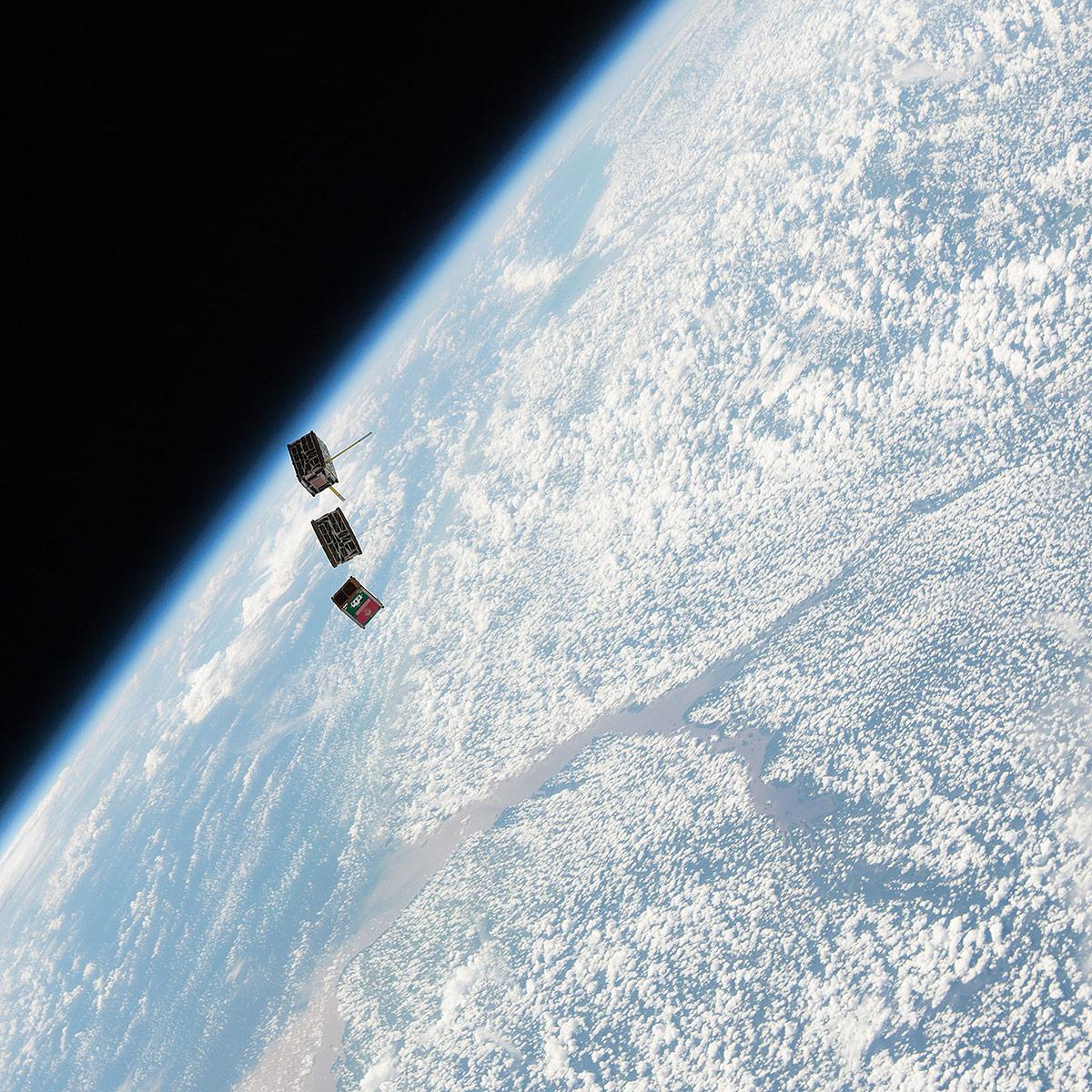 stmsat 1 deployed over earth